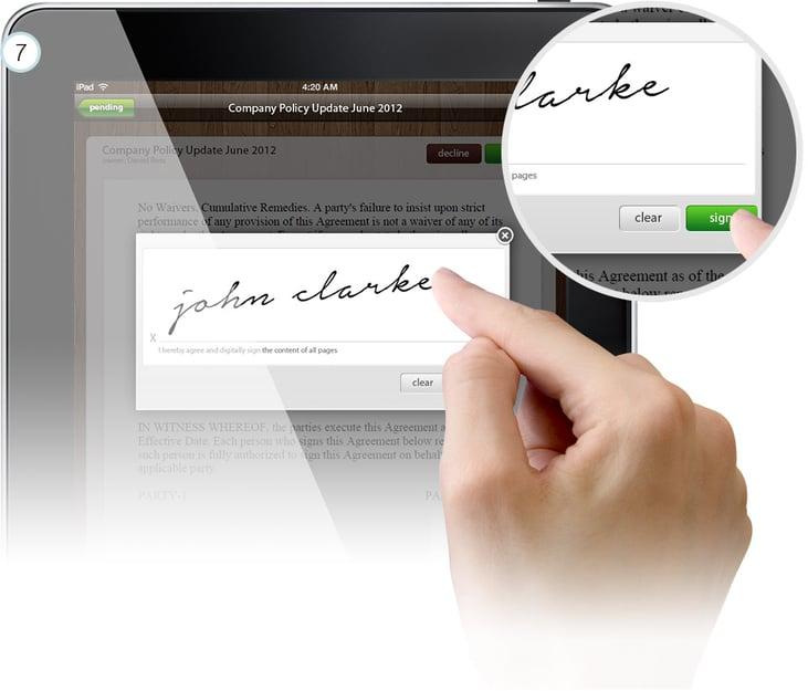 signing documents on iPad